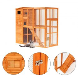 Wood Cat House Enclosure Pet Play Area Feline Sanctuary Home Outdoor w/Ramps