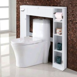Wooden Over The Toilet Storage Cabinet Drop Door Spacesaver Bathroom White