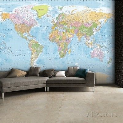 Buy Best World Map Wallpaper Mural Sticker - 124x91.5