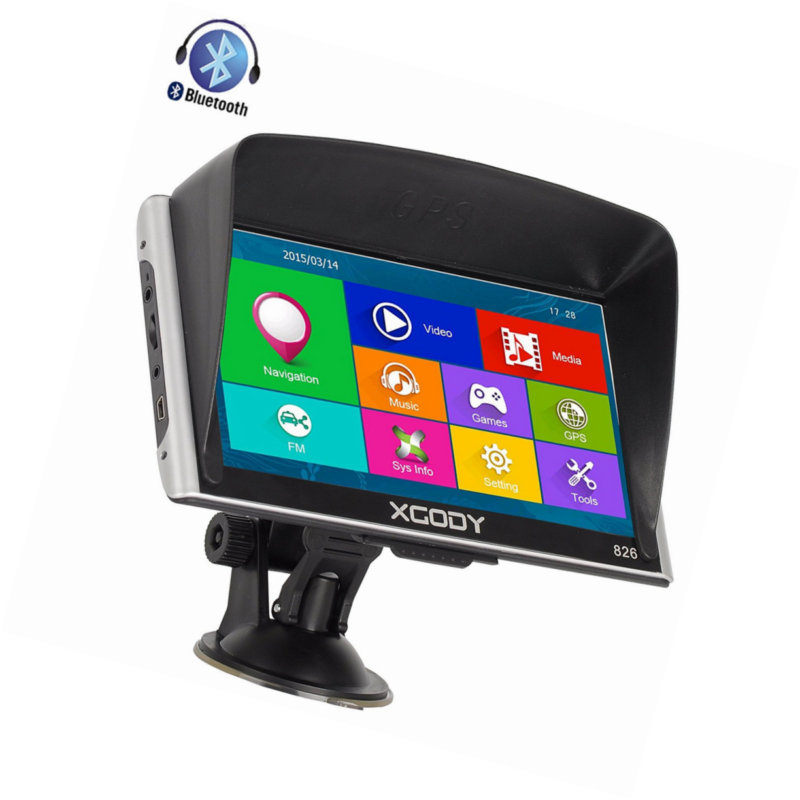 Buy Best Xgody Truckers GPS 826 with Sun Shade Capacitive Touchscreen 256RAM 8GB ROM 7 In