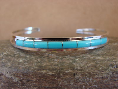 Zuni Indian Jewelry Sterling Silver Turquoise Inlay Bracelet by Wallace