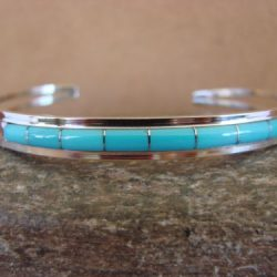 Buy Best Zuni Indian Jewelry Sterling Silver Turquoise Inlay Bracelet by Wallace