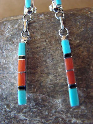 Zuni Indian Sterling Silver Turquoise Coral Channel Inlay Dangle Earrings by Nat