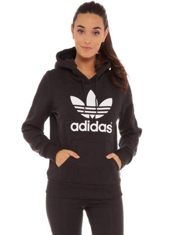 adidas Women's Trefoil Hoodie Black AJ8407 size Medium