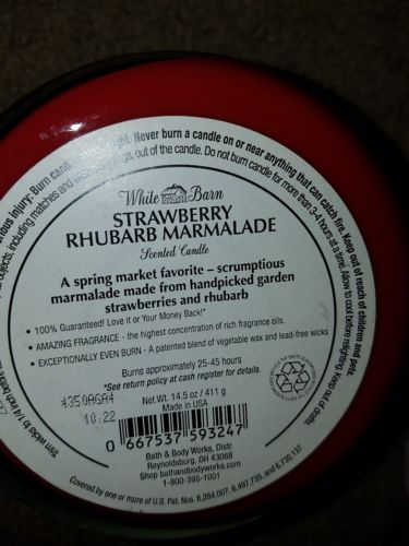 Buy Best bath body works strawberry rhubarb marmalade discontinued scent NEW candle set