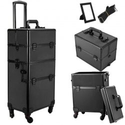 3 in 1 Trolley Case Pro Rolling Makeup Cosmetic Train Case Lockable Wheeled Box