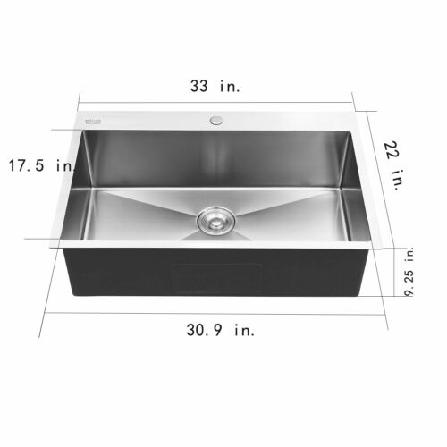 "33"" x 22"" x 9"" Stainless Steel Top Mount Kitchen Sink Single Basin w/ Strainer"
