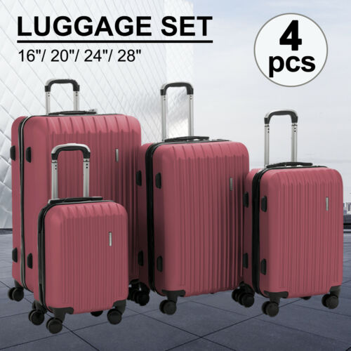 """3/4Pcs Travel Luggage Set Bag Trolley Spinner Suitcase ABS w/Lock 16""""20""""24""""28"""""""