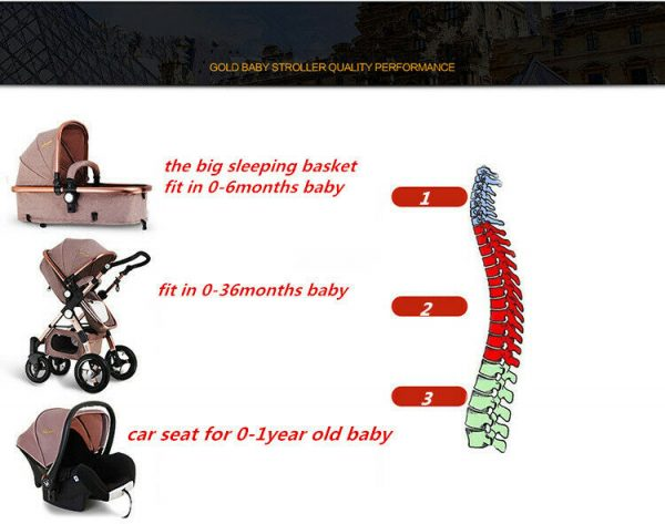 3in1 Luxury Baby Stroller with Car Seat For Newborn High View Folding Carriage.