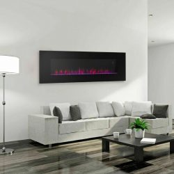 "42"" Wall Mount Electric Fireplace Heater Multicolor 3D Crystal Flame W/ Remote"