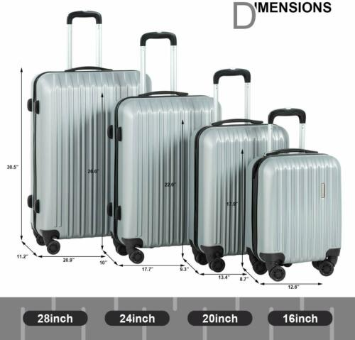 """4PCS Travel Luggage Set ABS Spinner Bag Suitcase w/ Lock Silver 16"""" 20"""" 24"""" 28"""""""