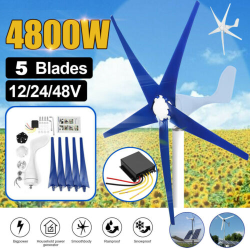 5 Blades 4800W Max Power Wind Turbines Generator DC12/24/48V Charge Controller