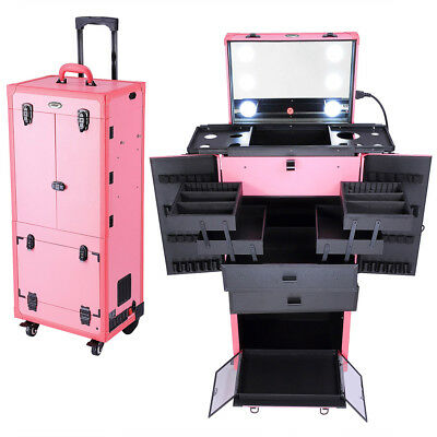 AW® Extra Large Rolling Makeup Case Cosmetic Studio Salon Storage w/Light Mirror
