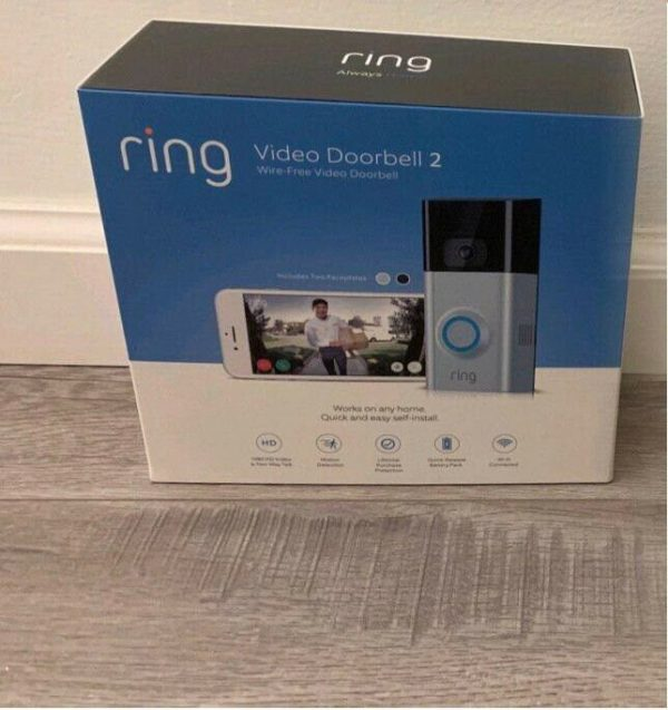 BRAND NEW! Ring Video Doorbell Version-2 - Wire-Free Video Doorbell (Silver)