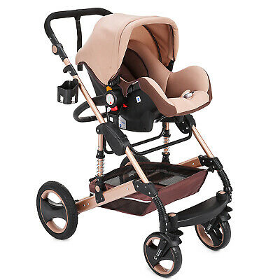 Baby Stroller 3 In 1 Carriage High View Pram Foldable Pushchair & Basket Buggy