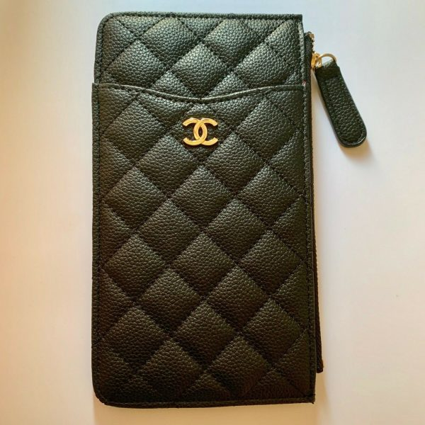 CHANEL Vip Gift Wallet / Card Holder Clutch Black New Authentic