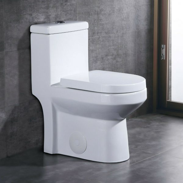 DeerValley Small Compact Dual Flush One-Piece Elongated Toilet for Water Closet