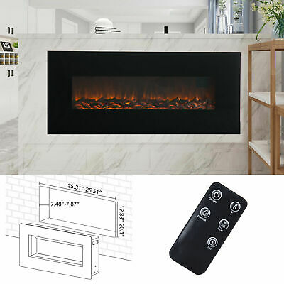 """Electric Fireplace 50"""" LED Flame Recessed Remote Control Glass Wall P4G7"""