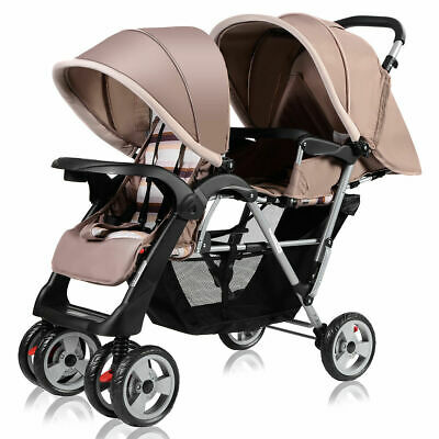 Foldable Twin Baby Double Stroller Kids Jogger Travel Infant  Pushchair Gray