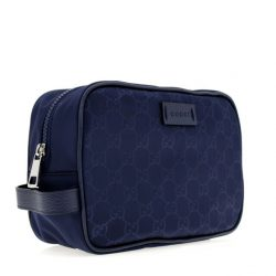 Gucci GG Toiletry Cosmetic Travel Bag Blue Nylon New