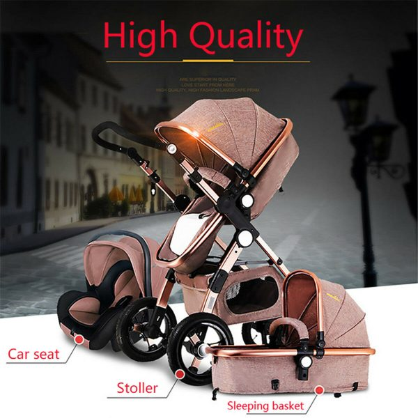 Luxury 3 in1 Baby Stroller Carriage Folding Newborn View High with Car Seat USA