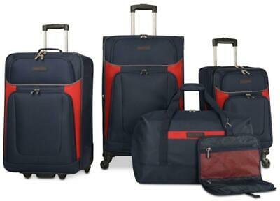NAUTICA OCEANVIEW 5 PC. LIGHTWEIGHT SPINNER LUGGAGE SET NAVY BLUE RED NEW