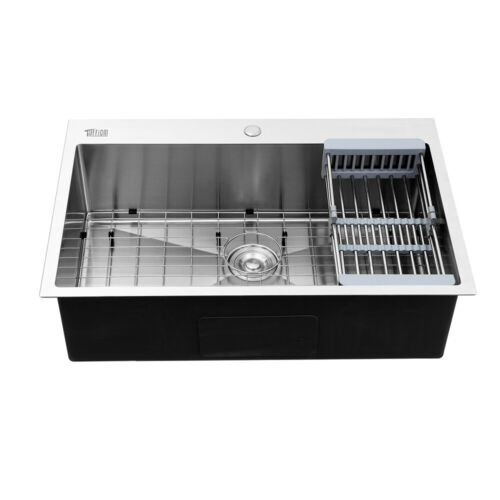 """New Single Basin Stainless Steel Top Mount Kitchen Sink 33""""x 22""""x 9"""" with Tray"""