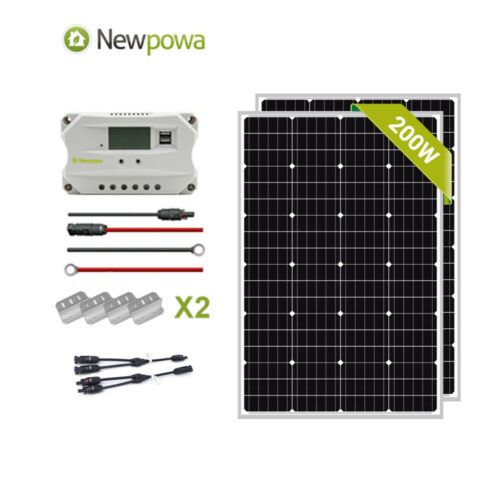 NewPowa 200W Watt Mono Solar Panel 12V System Controller Mounts MC4 charging Kit