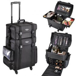 Pro 2in1 Soft Sided Rolling Makeup Trolley Train Case Bag w/Drawer Artist Black