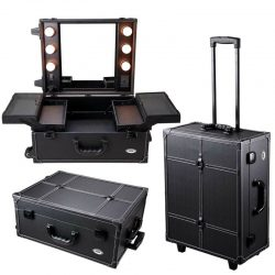 Buy Best Professional Rolling Makeup Cosmetic Case Light Mirror Studio Train Organizer