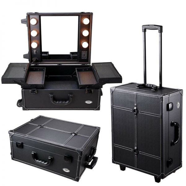 Professional Rolling Makeup Cosmetic Case Light Mirror Studio Train Organizer