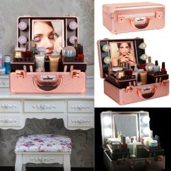 Studio Box Makeup Case Lighted Counter w/ Adjustable Mirror 4 LED Lamp Lockable