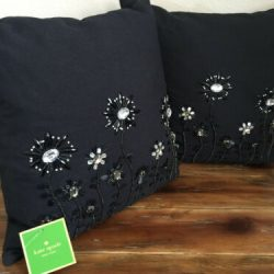 2 Kate Spade BD Blossom Black Dot Frame Decorative Throw Pillows Floral