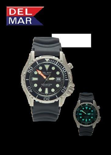 Del Mar 1000M Professional Dive Watch with Helium Valve Dial Black Rubber Strap
