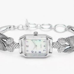 Edith Square Face Silver Spoon Bracelet Watch-Handmade - Antique Silver Pattern