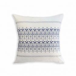 Buy Best Set of 2 Navy/White Embroidered Decorative Bed Pillows