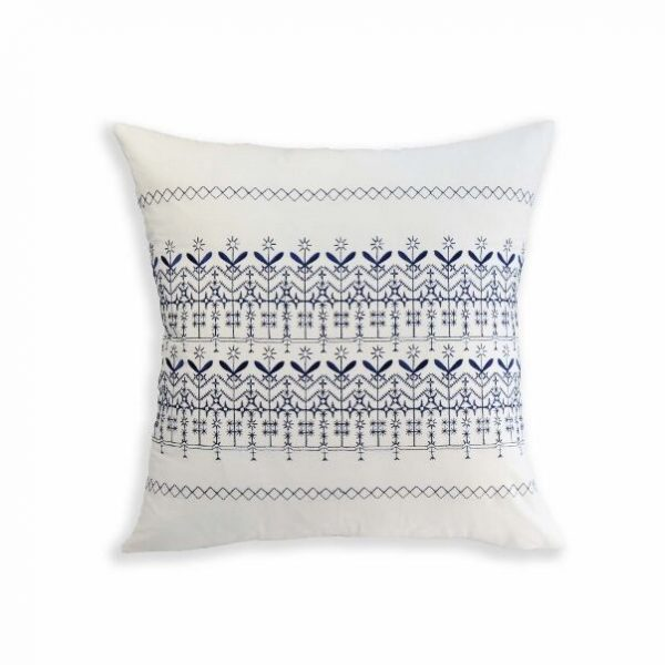 Set of 2 Navy/White Embroidered Decorative Bed Pillows
