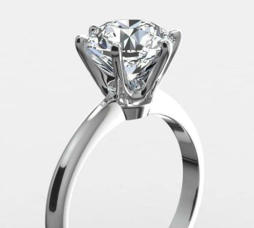 1.5 CT REAL NATURAL DIAMOND ENGAGEMENT RING ROUND CUT D VS2 14K WHITE GOLD