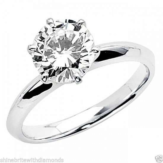 1.50 Ct Round Cut Solitaire Engagement Wedding Promise Ring Solid 18K White Gold