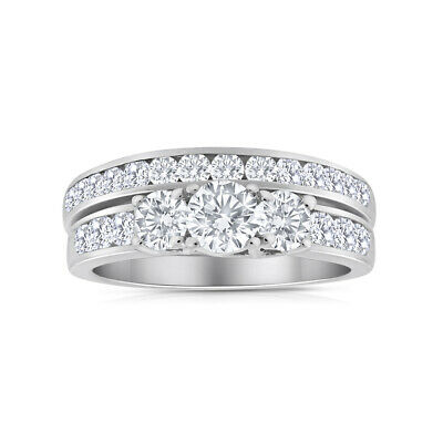 2.00ctw Diamond Three Stone Bridal Set in 14k White Gold
