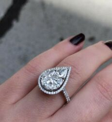 Certified Engagement Wedding Halo Ring 2.11 Ct Pear Diamond Solid 14K White Gold