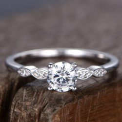 Certified Engagement Wedding Solitaire Ring 2.11 Ct Round Diamond 14K White Gold