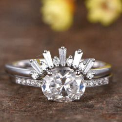 Engagement Wedding Ring With Crown Diamond Band 2 Ct Oval Diamond 14K White Gold