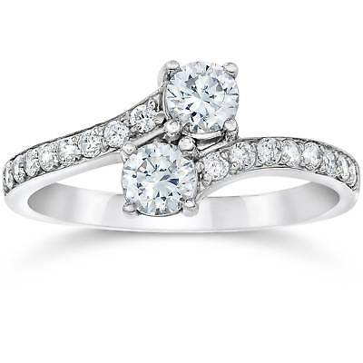 Buy Best SI1/G Forever Us Two Stone Round Diamond 1.00 Ct Solitaire Ring 14k White Gold