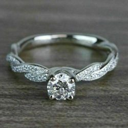 Twisted Shank Engagement Wedding Ring Certified 2Ct Round Diamond 14k White Gold
