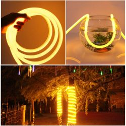 100ft Yellow 360 Degree Glow Flex LED Neon Light Strip Home Park Buliding Decor