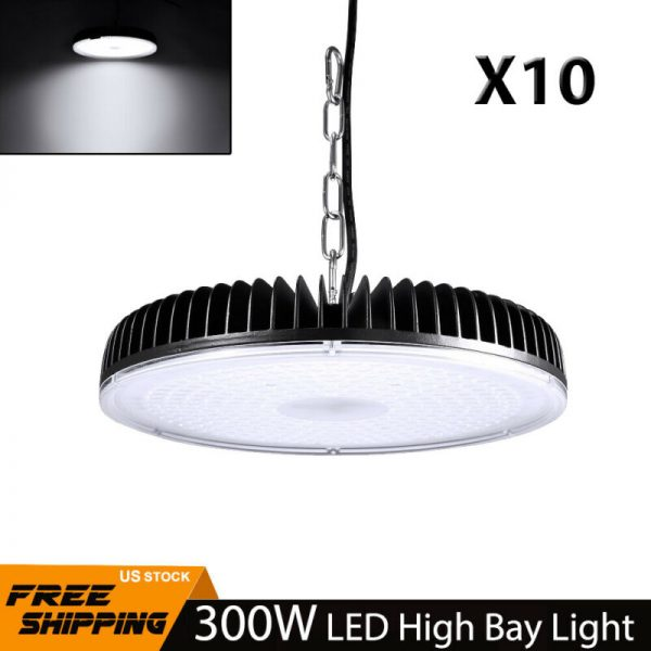 10Pcs 300W LED High Low Bay Light Commercial Warehouse Shed Garage Lamp Lighting