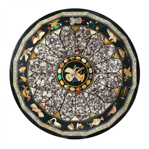 Buy Best 3' Black round Marble Inlay Table Pietra Dura dining side malachite Style Art