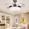 "42"" Crystal Invisible Ceiling Fan Light Silver Remote Control Chandelier Pendant"