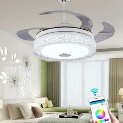 "42"" Invisible Ceiling Fan LED Chandelier or Fan Lamp w/ Bluetooth Music Speaker"